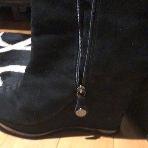 Isola Zurich black suede wedge bootie. Size 10